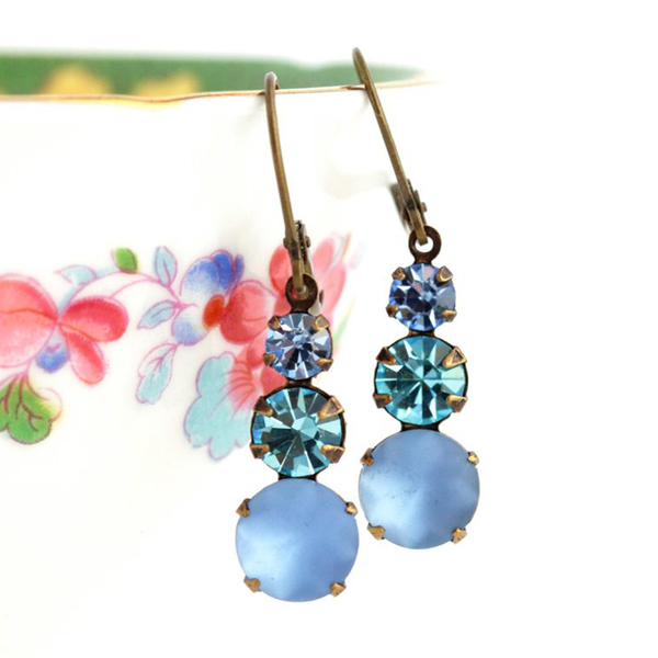 Vintage Blue Rhinestone Jewel Earrings - Jacaranda