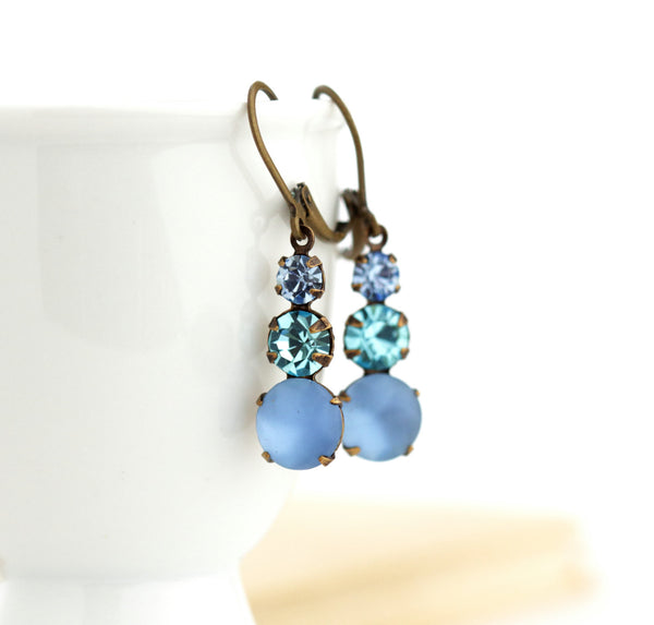 Vintage Blue Rhinestone Jewel Earrings