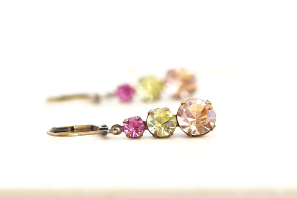 Pastel Rhinestone Vintage Crystal Earrings - Jacaranda