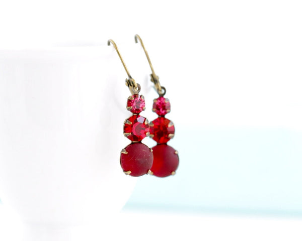 Red Drop Vintage Rhinestone Earrings - Jacaranda
