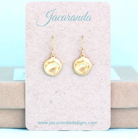 Dainty Gold Organic Disc Earrings - Jacaranda