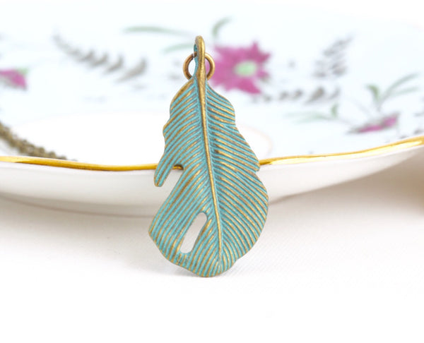 Boho Verdigris Feather Necklace - Jacaranda
