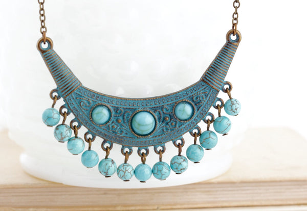Tribal Jewelry - Boho Jewlery - Ethnic Necklace - Gypsy Jewelry - Verdigris Necklace - Bohemian Necklace - Turquoise Necklace