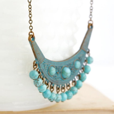 Turquoise Tribal Necklace - 3 Stones - Jacaranda