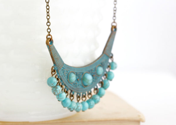 Tribal Jewelry - Boho Jewlery - Ethnic Necklace - Gypsy Jewelry - Verdigris Necklace - Bohemian Necklace - Turquoise Necklace - Jacaranda