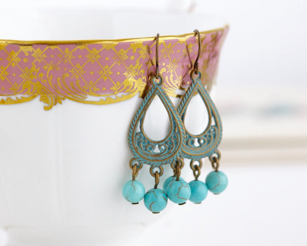 Bohemian Patina Brass and Turquoise Stone Chandelier Earrings - Jacaranda