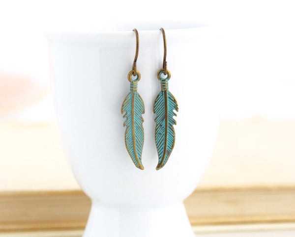 Patina Feather Earrings - Woodland Earrings - Rustic Earrings - Boho Jewelry - Feather Jewelry - Dangle Earrings - Jacaranda