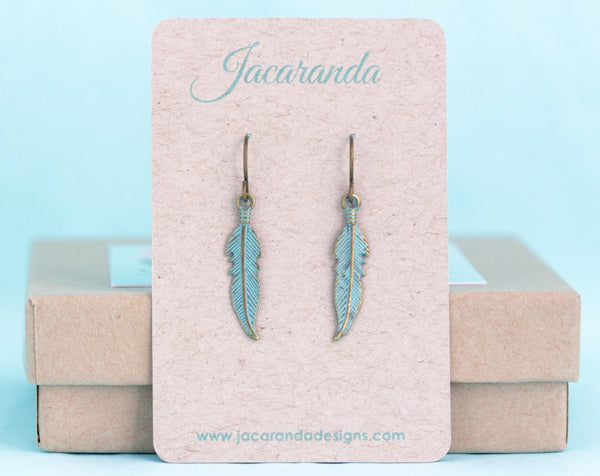 Patina Feather Earrings - Jacaranda