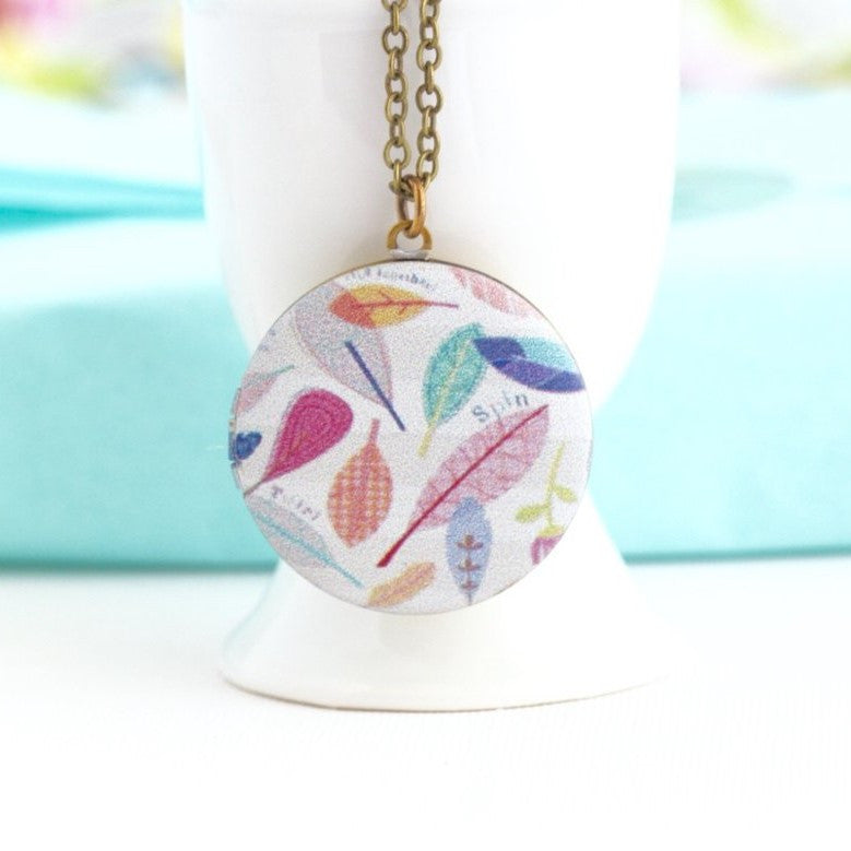 Boho Feather Locket Pendant Necklace