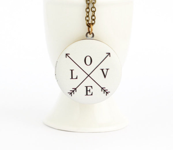 LOVE Locket Necklace on Brass Chain