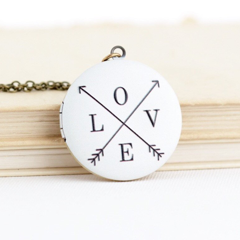 LOVE Locket Necklace on Brass Chain - Jacaranda