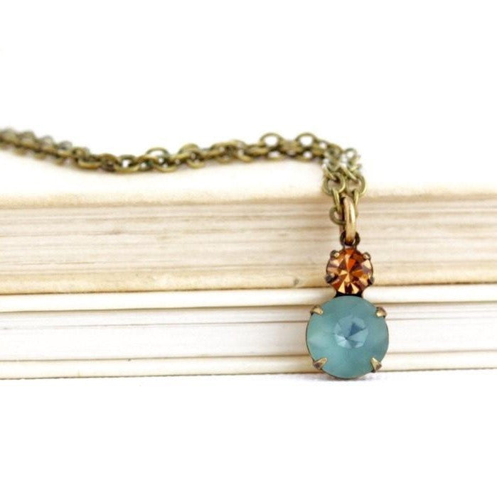Smokey Blue Vintage Crystal Pendant Necklace - Jacaranda