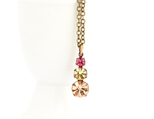 Vintage Pastel Crystal Pendant Necklace