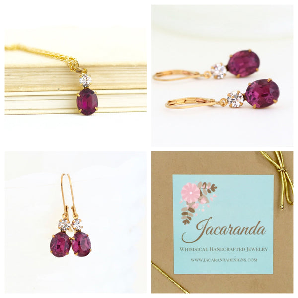 Purple Vintage Rhinestone Necklace and Earrings Gift Set - Jacaranda