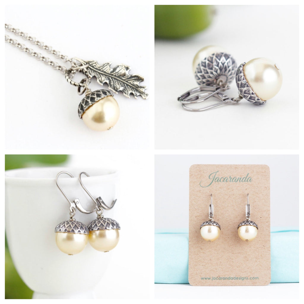 Acorn Jewelry Gift Set - Pale Gold Pearls / Antique Silver Brass and Sterling Silver Chain - Jacaranda