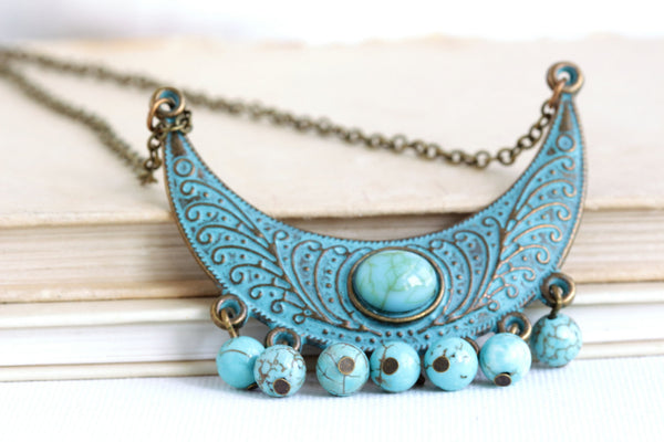 Bohemian Verdigris Green Necklace With Turquoise Beads - Jacaranda