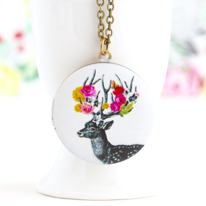 Festooned Woodland Reindeer Locket - Jacaranda