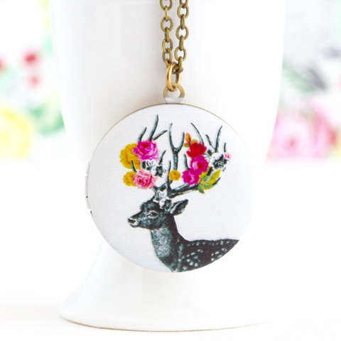 Festooned Woodland Reindeer Locket