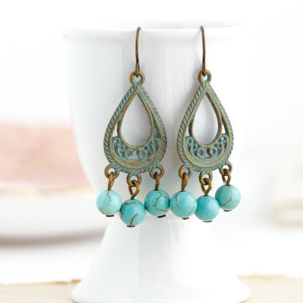 Bohemian Patina Brass and Turquoise Stone Chandelier Earrings