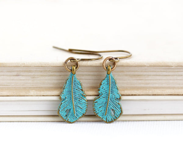 Green Feather Earrings - Jacaranda