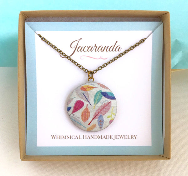 Boho Feather Locket Pendant Necklace - Jacaranda
