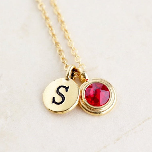 Personalized Birthstone and Initial Necklace - Jacaranda