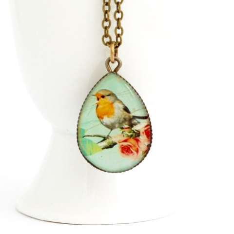 Little Robin Red Breast Pendant Necklace - Jacaranda