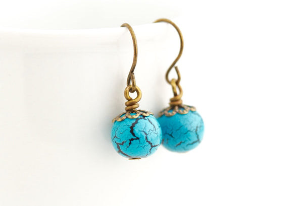 Marbled Turquoise and Black Birds Egg Earrings - Jacaranda