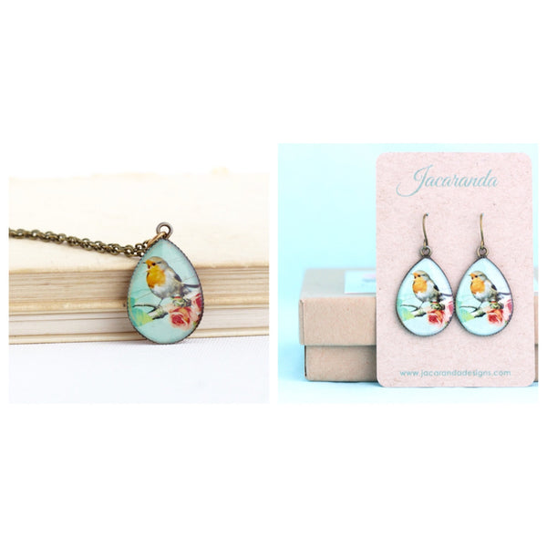 Robin Red Breast Gift Set - Necklace and Earrings - Jacaranda