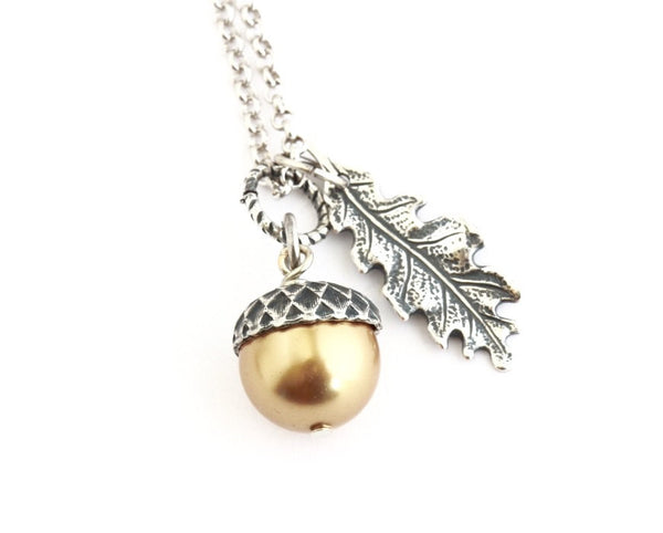 Acorn Jewelry Gift Set - Gold Pearls / Antique Silver Brass and Sterling Silver Chain - Jacaranda