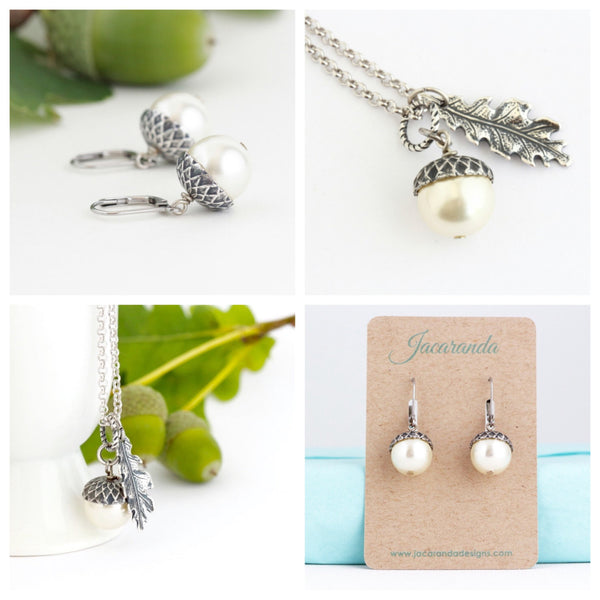 Acorn Jewelry Gift Set -Ivory Pearls / Antique Silver Brass and Sterling Silver Chain - Jacaranda