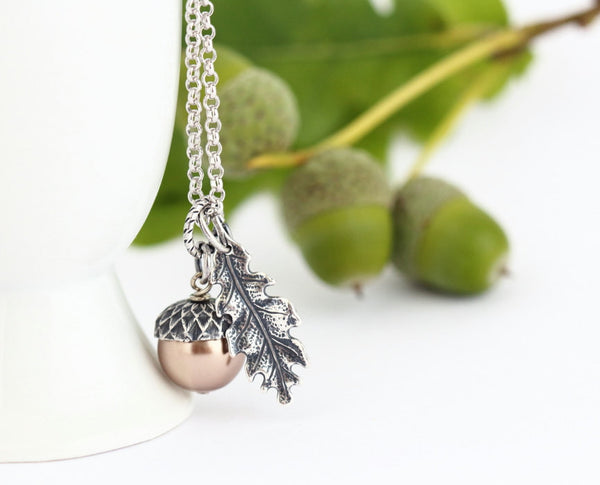Acorn Jewelry Gift Set - Pale Bronze Pearls / Antique Silver Brass and Sterling Silver Chain - Jacaranda