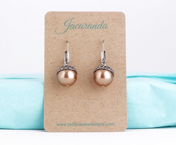 Acorn Jewelry Gift Set - Pale Bronze Pearls / Antique Silver Brass - Jacaranda