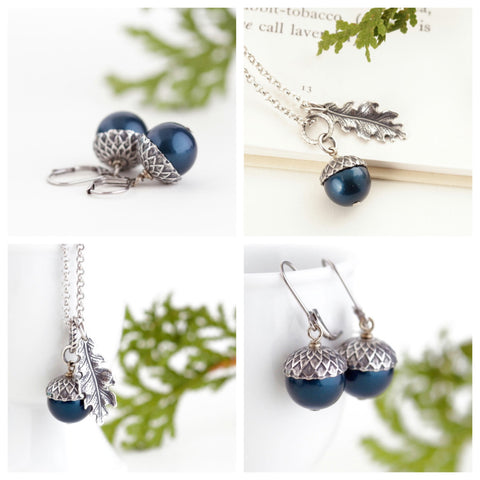 Acorn Jewelry Gift Set - Teal Pearls / Antique Silver Brass and Sterling Silver Chain - Jacaranda