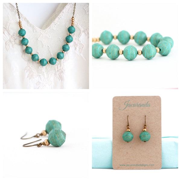 Turquoise and Gold Beaded Necklace and Earrings Gift Set - Jacaranda