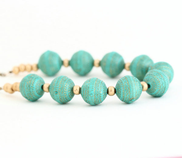 Turquoise and Gold Beaded Necklace and Earrings Gift Set