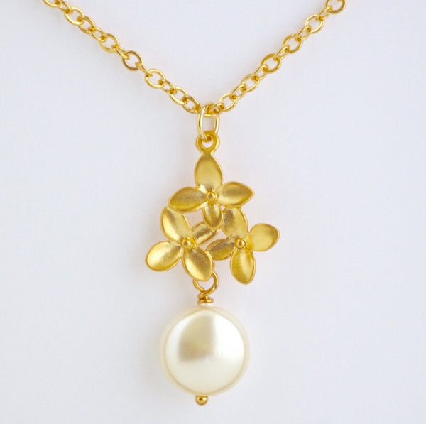 Gold Hydrangea and Ivory pearl Necklace and Earrings Gift Set - Jacaranda
