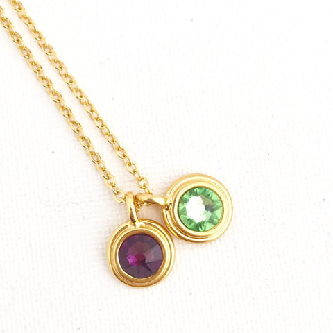 Personalized Birthstone Crystal Necklace in Gold