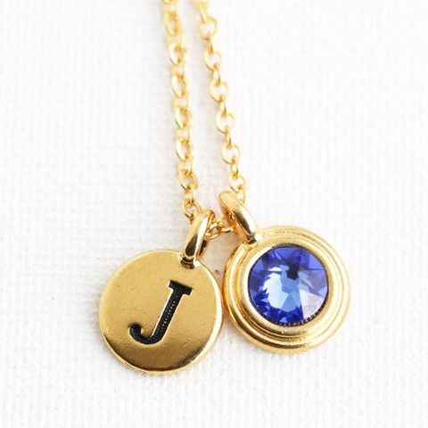 Personalized Birthstone and Monogram Necklace