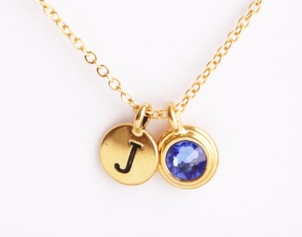 Personalized Birthstone and Monogram Necklace - Jacaranda