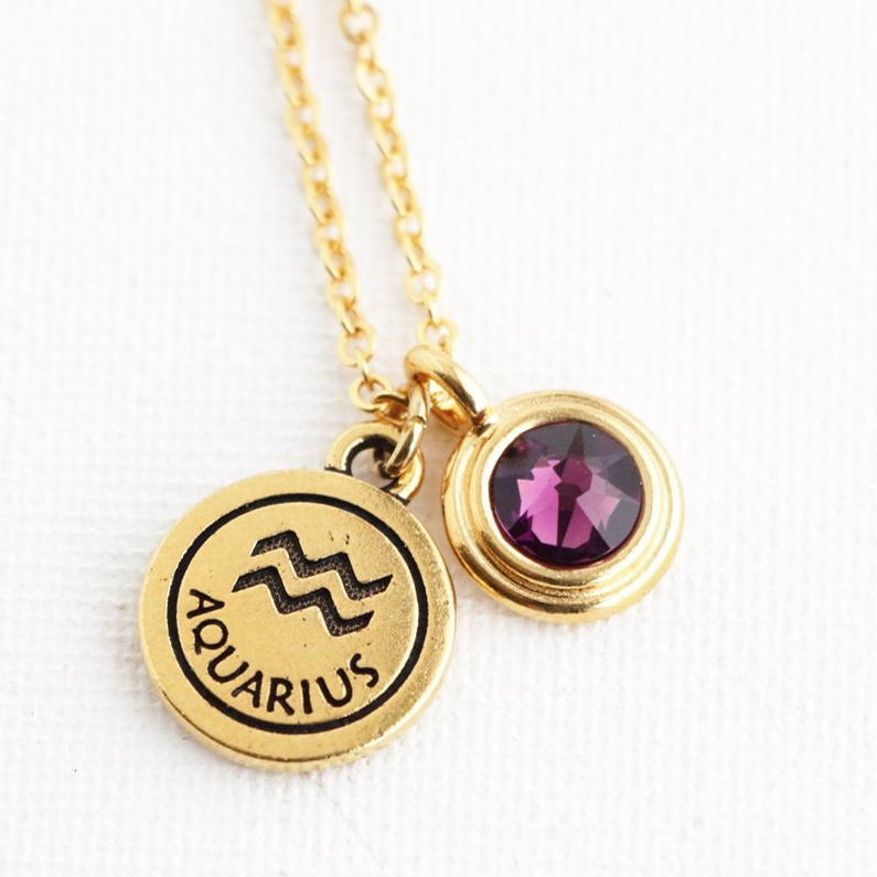 Personalized Zodiac Necklace With Birthstone Charm