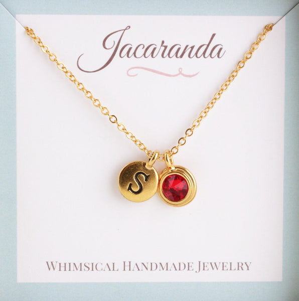 Personalized Birthstone and Initial Necklace