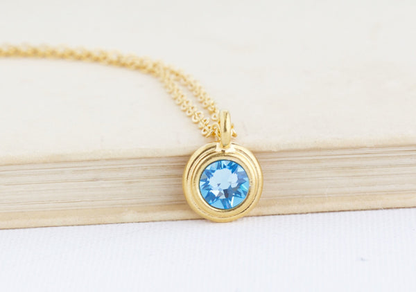 Personalized Birthstone Crystal Necklace - Jacaranda