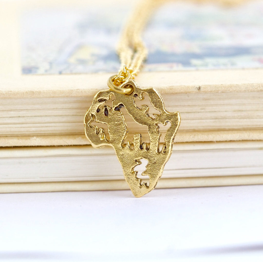 Africa Pendant Necklace - Gold