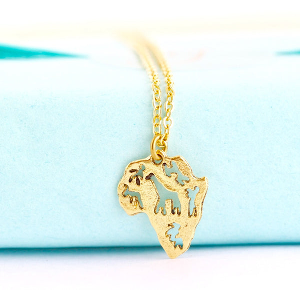 Africa Pendant Necklace - Gold - Jacaranda