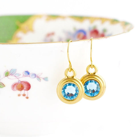 March Birthstone Earrings - Gold or Silver - Jacaranda