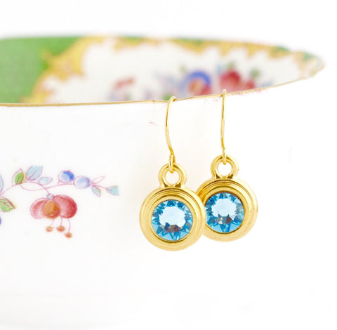 March Birthstone Earrings - Gold or Silver