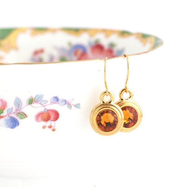 November Birthstone Earrings - Gold or Silver - Jacaranda
