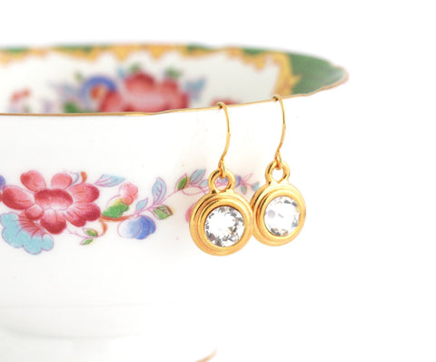 April Birthstone Earrings - Gold or Silver