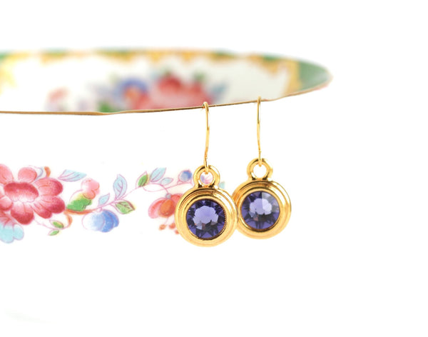 December Birthstone Earrings - Gold or Silver - Jacaranda